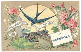 Cpa Fantaisie - Pensées Et Amitiés De Bessèges ( Train ) - Bessèges