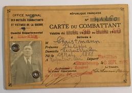 Carte Du Combattant Du BAS RHIN 1935 - 1940 - Documents Historiques