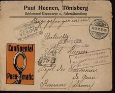 Enveloppe Illustrée Pneumatique Continental Guerre 14/18 Prisonniers Allemands Censure Non Distribuée C FM - Postmark Collection (Covers)