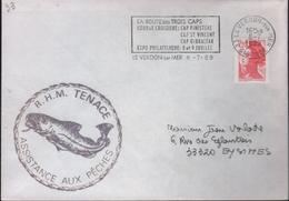 """Lettre De 33 Le Verdon-sur-Mer 8-7 1989 Avec La Griffe Du Bateau """"R.H.M. TENACE Assistance Aux Pêches"""" - Variedades Y Curiosidades"""
