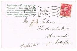 RB 1135 - 1904 Christmas Postcard - Superb Fairhill Station Flag Postmark - USA - United States