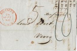 20798. Carta Entera ZOFINGEN (Aarau) Argovia  Suisse 1847 A Vevey - 1843-1852 Kantonalmarken Und Bundesmarken