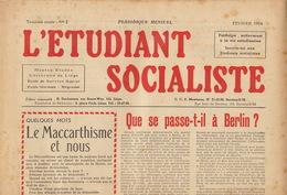 Journal Ancien étudiant Université De Liège L'ETUDIANT SOCIALISTE Février 54 - Journaux - Quotidiens