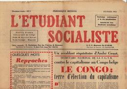 Journal Ancien étudiant Université De Liège L'ETUDIANT SOCIALISTE Novembre 54 - Journaux - Quotidiens