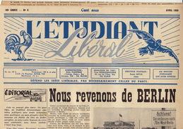 Journal Ancien étudiant Université De Liège L'ETUDIANT L'ETUDIANT LIBERAL Avril 55 - Journaux - Quotidiens