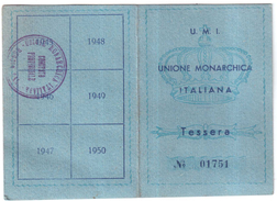 TESSERA UMI UNIONE MONARCHICA ITALIANA ANNO 1946 ORIGINALE - Documentos Antiguos