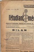 Journal Ancien étudiant Université L'ETUDIANT MEDECIN Juin 53 - Journaux - Quotidiens
