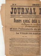 Ancien JOURNAL DE RENAIX Numero Special De Malander Deputé Bourgmestre Palinodards Du Parti Catholique Avril 191 - Journaux - Quotidiens