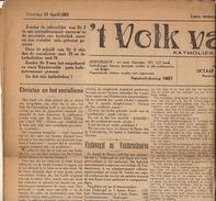 Journal Ancien 'tVOLK VAN RONSE Renaix Politique Catholique 18 Avril 1925 - Journaux - Quotidiens
