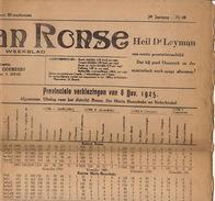 Journal Ancien 'tVOLK VAN RONSE Renaix Politique Catholique élections Résultats Province 8 Nov 1925 - Kranten