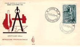 Fdc Venetia N. 107: ISTRUZIONE PROFESSIONALE  (1955); No Viaggiata; Annullo Roma - FDC
