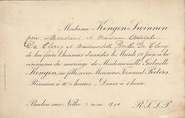 Grand Carton Mariage Kengen Swinnen Fernand Peeters Baeden Sur Nèthe Pour De Clercq Mai 1900 - Mariage