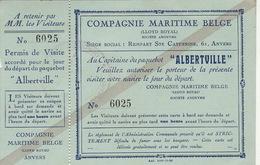 Bateau Compagnie Maritime Belge CMB Paquebot Albertville Tiquet De Visite - Barche