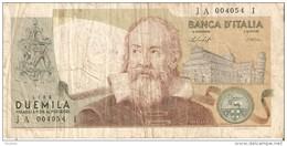 BILLETE DE ITALIA DE 2000 LIRAS DEL AÑO 1976  GALILEO  (BANKNOTE) - [ 2] 1946-… : República