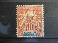 BEAU TIMBRE DE MADAGASCAR N° 43 , CACHET BLEU DE BUREAU SECONDAIRE !!! - Used Stamps