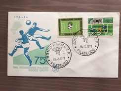 Busta Filagrano Primo Giorno Emissione Francobolli 75° Ann. FIGC 1973 - Giornata Del Francobollo