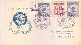 CZECHOSLOVAKIA - 15-11-1950 FIRST DAY COVER COMMERCIALLY SENT TO INDIA - TATRANSKA LIMNICA VYSOKE TATRY - Czechoslovakia