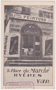 Cpa Hyeres 9 Place Du Marché Devanture Fabrique Enseigne Fresque Attribut Vitrerie Maison Collet Castel Clavel 1910 - Hyeres