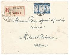 ALGERIE DEVANT DE LETTRE RECOMMANDEE DE ORAN -G-4 POUR LA FRANCE DU 25/6/1928 - Lettres & Documents