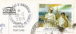 Centenaire Du Retour Du Mahatma Gandhi En Inde Depuis L'Afrique Du Sud, Timbre Et Carte Spéciale, Adressée ANDORRA - Mahatma Gandhi