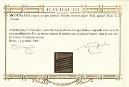 """Modena 1853 Segnatasse Per Giornali 9 Cent. Violetto Grigio """"B.G. Grande"""" (Sassone N.1) Usato - Modena"""