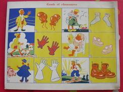 Petite Affiche Cartonnée Tableau élocution Et Vocabulaire. Gants Et Chaussures. Vers 1930. - Afiches