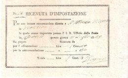 RICEVUTA D'IMPOSTAZIONE - Raccomandata Spedita Da S. Daniele A Venezia Nel 1839 - Fatture & Documenti Commerciali