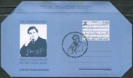 2013 Vaticano, Aerogramma 150° Anniversario Nascita Pietro Mascagni Musicista Con Annullo Ufficiale F.D.C. - Interi Postali