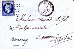 78 VAR - TOURVES - 1862 - Marcofilia (sobres)