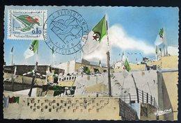 Cpsm Carte Maximum  Algérie Alger - Fêtes De L' Indépendance El Djezair - Les 3 Couleurs - Cachet 6-1-63   JIP71 - Algérie (1962-...)