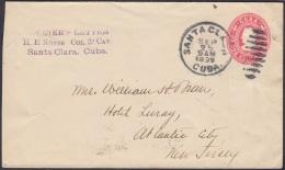 1899-EP-170 CUBA US OCCUPATION. POSTAL STATIONERY SANTA CLARA 1899 SOLDIERS LETTER. NAIFE 75. - Brieven En Documenten