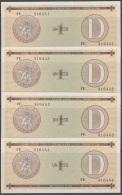 1985-BK-145 CUBA 1985. 1$ CERTIFICADO DE DIVISA SERIES D. 4 CONSECUTIVE UNC. - Cuba