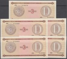 1985-BK-149 CUBA 1985. 3$ CERTIFICADO DE DIVISA SERIES D. 5 CONSECUTIVE UNC. - Cuba
