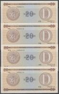 1985-BK-155 CUBA 1985. 20$ CERTIFICADO DE DIVISA SERIES D. 4 CONSECUTIVE UNC. - Cuba