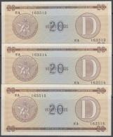 1985-BK-156 CUBA 1985. 20$ CERTIFICADO DE DIVISA SERIES D. 3 CONSECUTIVE UNC. - Cuba