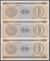 1985-BK-157 CUBA 1985. 20$ CERTIFICADO DE DIVISA SERIES D. 3 CONSECUTIVE UNC. - Cuba