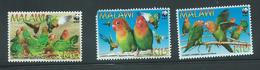 Malawi 2009 WWF Bird Lovebirds 3 Values MNH , 1 Damaged - Malawi (1964-...)
