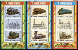 Sao Tome And Principe, 1982, Locomotives, Trains, Railroads, MNH Perforated, Michel Block 114-116A - Sao Tome En Principe