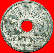 § VINGT: FRANCE ★ 20 CENTIMES 1941! VICHY WAR PERIOD (1941-1944)! LOW START ★ NO RESERVE! - E. 20 Centimes