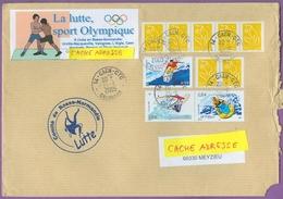 Timbre Sur Lettre 3698 - 3694 - 3693 : Les Sports De Glisse ; Jet Ski  Surf Planche à Voile/ Lutte France 25/11/2005