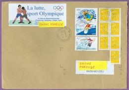 Timbre Sur Lettre 3698 - 3694 - 3693 : Les Sports De Glisse ; Jet Ski  Surf Planche à Voile/ Lutte France 05/03/2005 - Jet Ski