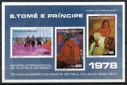 Sao Tome E Principe, 1978, Gauguin Paintings, Essen Stamp Exhibition, MNH Imperforated Sheet, Michel Block 15 - Sao Tome En Principe