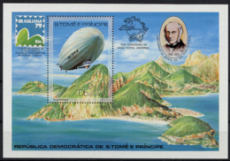 Sao Tome E Principe, 1979, UPU, Rowland Hill, Zeppelin, Brasiliana, MNH Perforated Sheet, Michel Block 36A - Sao Tomé Y Príncipe