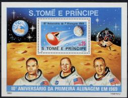 Sao Tome E Principe, 1980, Space, Moon Landing, MNH Perforated Sheet, Michel Block 45 - Sao Tome En Principe