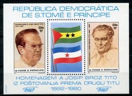 Sao Tome E Principe, 1981, Tito, Yugoslavia, MNH Perforated Sheet, MISPERFORATION, Michel Block 58A - Sao Tome En Principe