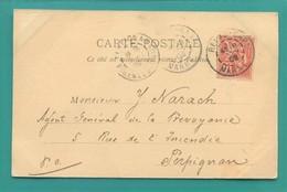 M2 : DOUBLE TAD TYPE 84 REIMS GARE JANVIER 1902 SUR MOUCHON ROSE 10 C ( 116 ) + TAD PERPIGNAN - Marcophilie (Lettres)