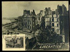 Carte Maximum Saint Malo Anniversaire De La Libération 14-8-1949 Cachet Recto Verso Et Timbre    JIP69 - 1940-49
