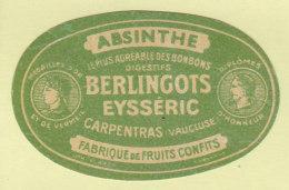 ABSINTHE, Bonbons Digestifs Berlingots Eysseric à Carpentras. 2  Scans. - Etiquettes