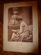 Années 1920-1930 Gravure Romantique Couleur Sépia LA LECTURE , Dimension Hors-tout = 50 Cm X 35 Cm - Estampes & Gravures