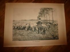 Années 1920-1930 Gravure Pastorale LE PRINTEMPS Représentant Un Berger Au Milieu De Ses Moutons Hors-tout 49 Cm X 34 Cm - Vieux Papiers